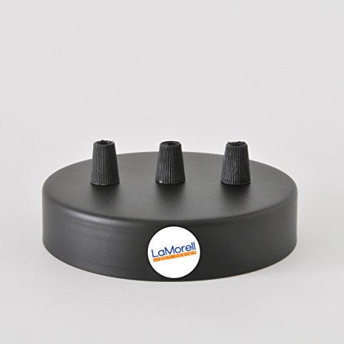 Baldachin 3-Bohrlöcher Zylinder Metallic Schwarz 120mm, Aufhängebügel, Schrauben und Kabelhalter. Made in Italy