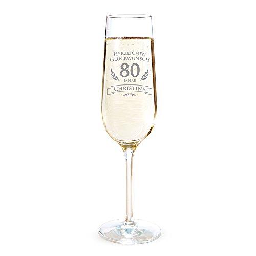 AMAVEL Sektglas mit Gravur zum 80. Geburtstag – Personalisiert mit [Namen] – Sektflöte als Geburtstagsgeschenk – Geschenkidee für Frauen – Glas für Sekt, Champagner und Prosecco – Sektkelch