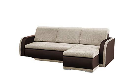 mb-moebel kleines Ecksofa Sofa Eckcouch Couch mit Schlaffunktion und Bettkasten L-Form Polstergarnitur große Farbauswahl - VERO I (Ecksofa Rechts, Beige +...