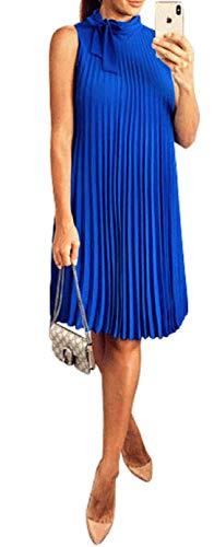 Anastasia Fashions - Vestido Plisado sin Mangas Azul con Corbata Talla 44