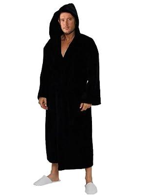 Velour Terry Hooded Robe Women's & Men's Velour Hooded Bathrobe Cotton Cover Up