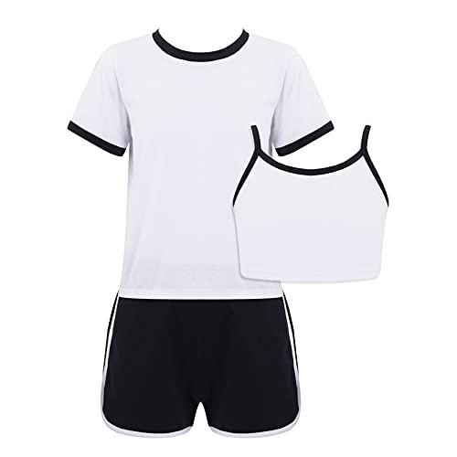 Mufeng Conjunto de Chándal de 3 Piezas para Niñas Ropa Deportiva Informal con Pantalones Cortos de Cintura Elástica de Verano de Moda Blanco 9-10 años