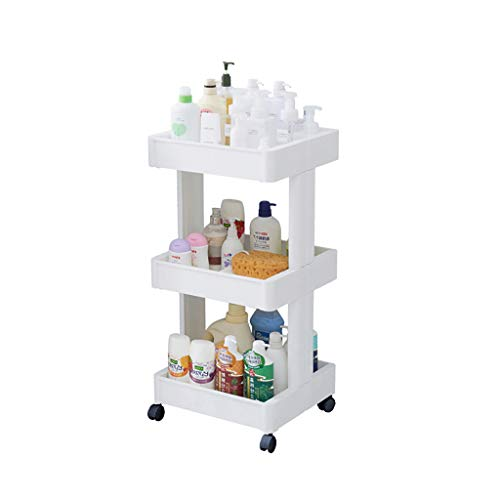 CFstc Chariot de stockage de cuisine de 3/4 niveaux avec le support de légume de fruit en plastique de roues pour l'organisation multifonctionnelle de salle de bains (taille : 39 * 36 * 79cm)