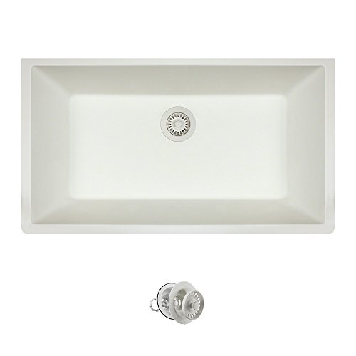MR Direct 848-W-CST Quartz Granite Kitchen Sink with Colored Strainers, 1, White