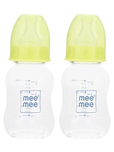 Mee Mee Premium Glass Feeding Bottle , Green (120 ml, Pack of 2)