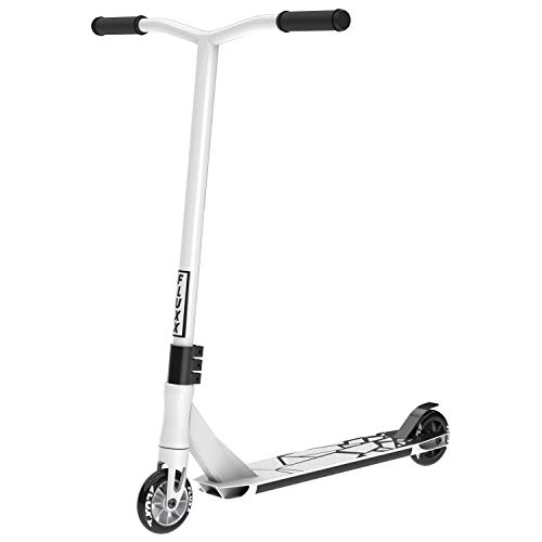 Fluxx SSX Pro Stunt Scooter, Best Entry Level Trick Scooter with 100mm Aluminum Alloy Rim PU Wheels, Lightweight BMX Freestyle Kick Scooter for Beginners Kids 8 Years and Up (White)