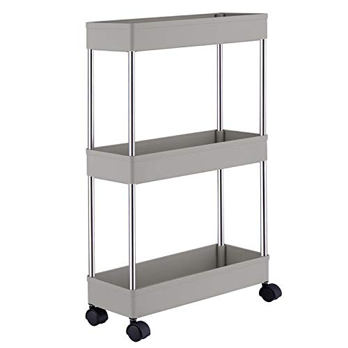 Slim Storage Cart,DLO 3 Tier Mobile Shelving Unit Organizer Slide Out Storage Rolling Utility Cart Tower Rack for Kitchen Bathroom Laundry Narrow Places,Gray
