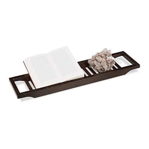 Relaxdays Badewannenablage aus Bambus, Badewannenbrett, Tablett für Badewanne, HxBxT: 4 x 65 x 15 cm, braun lackiert