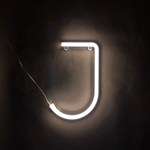 Smiling Faces UK Neon LED weiße Buchstaben Licht Zeichen - Wandbehang batteriebetrieben - Brief J
