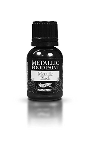Ready-to-use Metallic Black 100% Edible Food Paint for Cake and Icing Decoration by Rainbow Dust