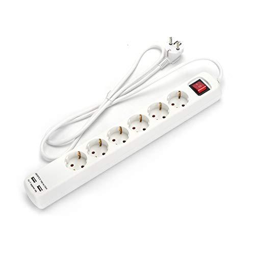 Aigostar SwGadget 6214USB - Regleta con 6 enchufes y 2 puertos USB de carga de 1'4 metros. Botón de conexión-desconexión.