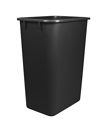 Storex Large Waste Basket 15.5 x 11 x 20.75 Inches, Black (STX00700U01C)
