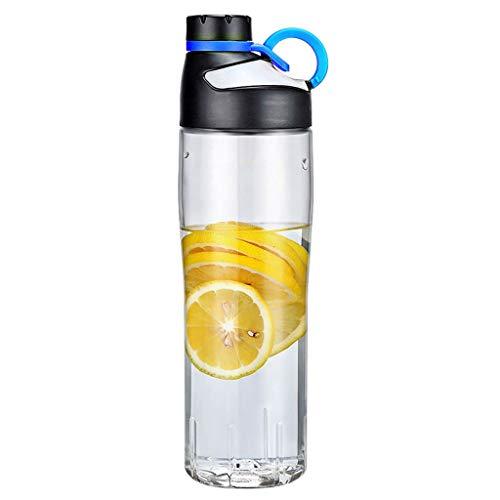 Xiaodou Outdoor Sportflasche aus Tritan Sport Cup tragbare Männer und Frauen Fitness-transparentes Plastik Cup Gerade Cup 740ml Versiegelt Auslaufsicher Wasserflasche (Color : Blue)