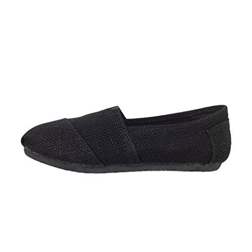 Dooxii Unisex Uomo Donna Durevole Casuale Loafers Scarpe Moda Tinta Unita Espadrillas Basse Scarpe Slip On Flats Nero 41(25.5cm)