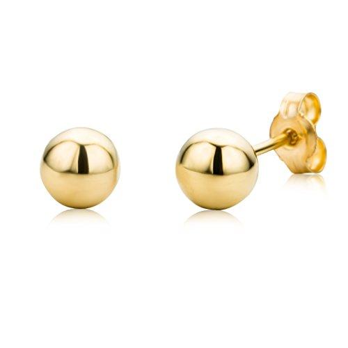 Miore Ohrringe Damen Dezente, glänzende Kugel Ohrstecker aus Gelbgold 9 Karat / 375 Gold Ohrringe in Kugelform, Ohrschmuck
