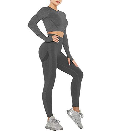 DUROFIT Conjuntos Deportivos para Mujer Push Up Leggins y Crop Top Deporte Sport Set Conjunto de Ropa Deportiva Legging Mallas de Yoga Fitness Cintura Alta Camiseta de Manga Larga L Gris