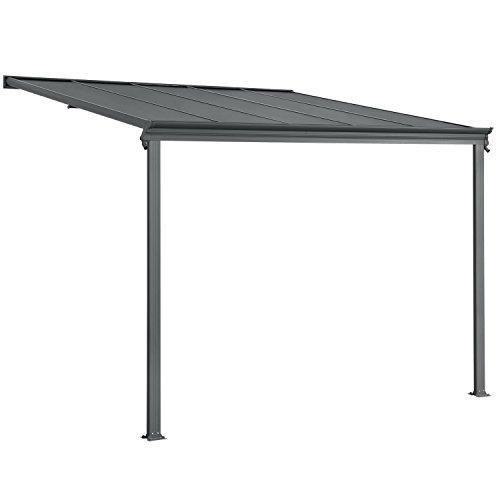 Juskys Aluminium Terrassendach Borneo 3×3 m dunkelgrau | Terrassenüberdachung mit Doppelsteg-Platten | Sonnenschutz Vordach