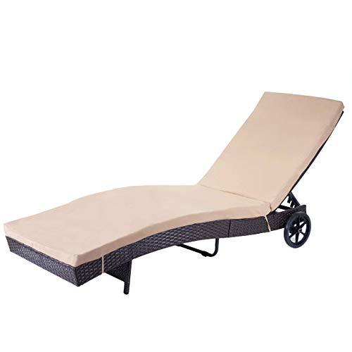 Mendler Sonnenliege HWC-D80, Gartenliege Relaxliege Liege, Poly-Rattan ~ braun, Kissen beige