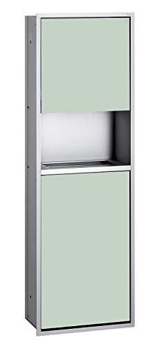 Emco Asis 300 inbouw papierdispenser met afvalverzamelaar, inbouwkast, chroom/zwart, deurscharnier naar keuze - 975227951