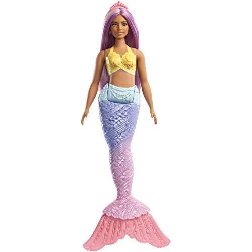 Barbie Dreamtopia Bambola Sirena con Coda Arcobalena e Capelli Viola, FXT09