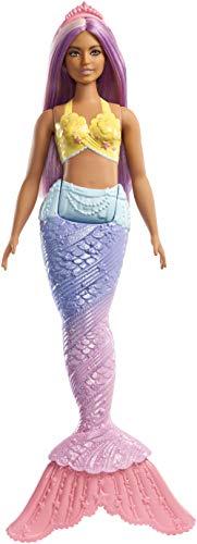 Barbie FXT09 - Dreamtopia Meerjungfrau Puppe mit lila Haaren und Flosse in Regenbogenfarben, Puppen Spielzeug und Puppenzubehör ab 3 Jahren
