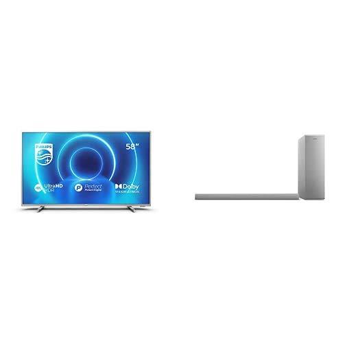 Philips 58PUS7555/12 Televisor 4K UHD de 58' (P5 Engine, Dolby Vision∙Atmos, HDR 10+, Saphi Smart TV) con Barra de Sonido con Subwoofer B6405/10 (Bluetooth, 140W, Dolby Audio) Plata