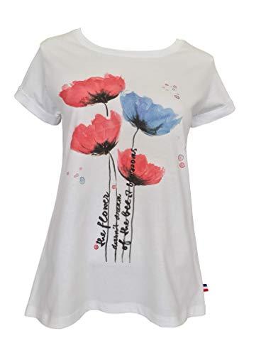 Alex(e) T-Shirt Femme Manches Courtes Vêtement Top Haut Col-Rond Coton 100% Made in France Grandes Tailles Mode Ete Chic Imprimé Coco (L)