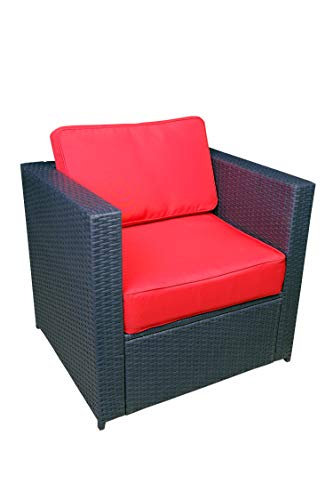 Mcombo Outdoor Patio Black Wicker Furniture Sectional Set All-Weather Resin Rattan Chair Modular Sofas with Water Resistant Cushion Covers 6085 Armrest Chair, Red