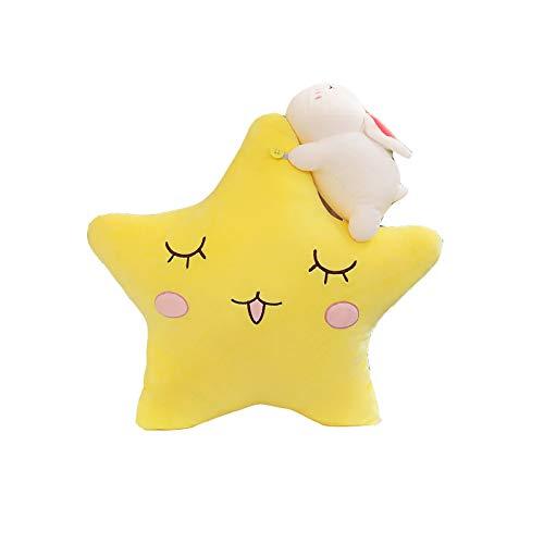 PIKAqiu33 Cute White Rabbit Star Moon Doll Children's Doll Sleeping Pillow Plush Toy, Plush, Toys and Hobbies (A)