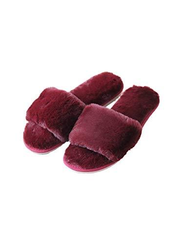 RAIKOU Hausschuhe Damen Plüsch Pantoffeln Rutschfester Warm Indoor Slippers Hause Schuhe, weiche Hausschuhe, Bequeme Schlappen, Kunstpelz Flache Gemütliche Hausschuhe (Weinrot,39/40)