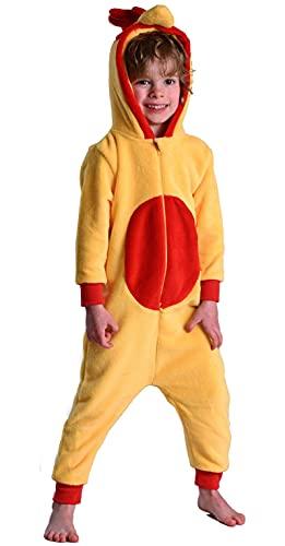Childrens Boys and Girls Onesie Fluffy Fleece Monkey or Rabbit in Kids Rooster Chicken Age 3-4