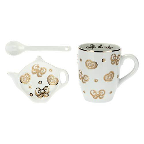 THUN Set Mug, poggia bustina tè/Tisane e cucchiaino Gold Icons