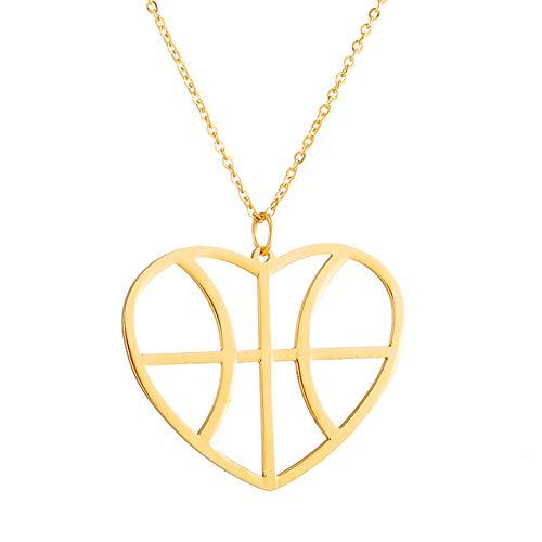 Hollow Love Heart Basketball Anhänger Halskette Für Frauen Männer Gold Farbe Chian Kragen Charm Choker Schmuck Geschenk 45Cm