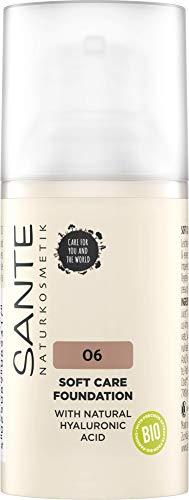 SANTE Naturkosmetik Soft Care Foundation 06 Neutral Amber, ideal für mittlere bis dunkle Hauttypen, ebenmäßiger Teint, mittlere Deckkraft für ein natürlich-zartes Finish, mit Hyaluron, Vegan, 30ml