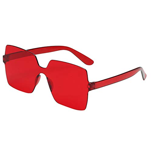 Xniral Sonnenbrille Unisex Bonbonfarbene Quadratische Gläser Rahmenlos Transparente Sonnenbrille Für Männer Und Frauen, Einteilige Sonnenbrille(O)