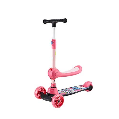 ZZL Patinetes para Niños Scooter de Los Niños 3 Altura Ajustable Scooter Extra Ancho PU Plegable Que Parpadea Las Ruedas para Niños de 2 a 12 Años Scooter (Color : Pink)