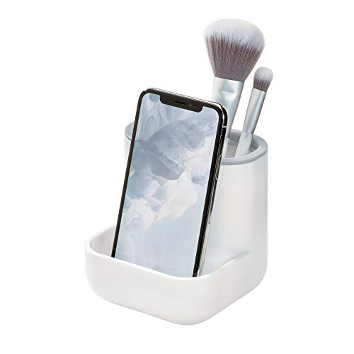 Price comparison product image iDesign Toothbrush Holder,  Compact Plastic Make-up Organiser with 3 Compartments,  Sturdy Sink Caddy for Make-up Brushes and Bathroom Accessories,  White and Grey,  10.4 x 10.0 x 10.2 cm