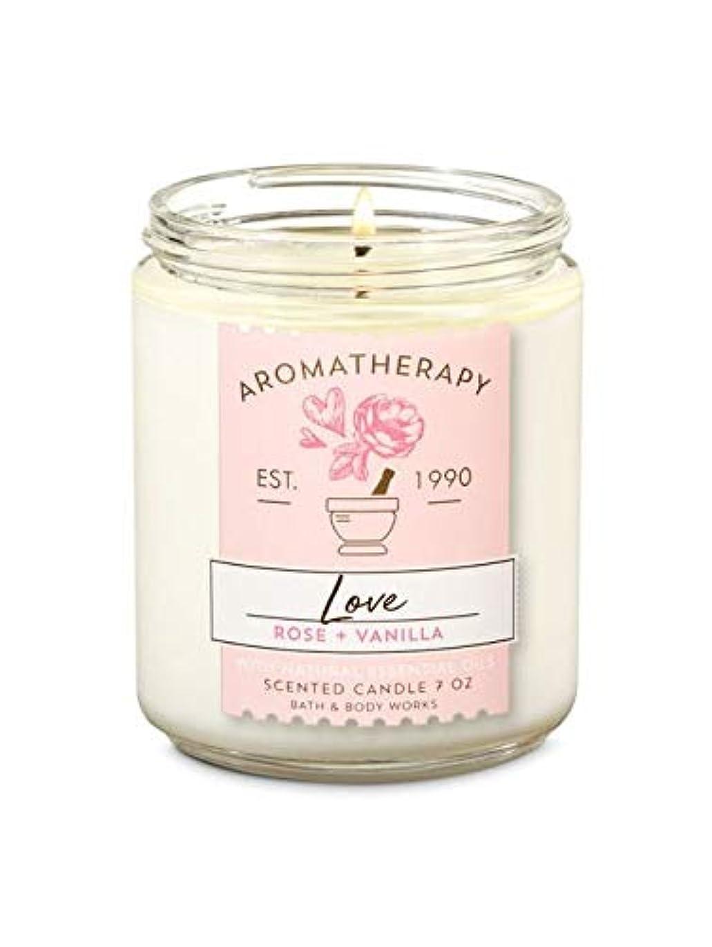 連鎖素子ボタン【Bath&Body Works/バス&ボディワークス】 アロマキャンドル アロマセラピー ラブ ローズバニラ Aromatherapy 1-Wick Scented Candle LOVE Rose Vanilla 7oz/198g [並行輸入品]