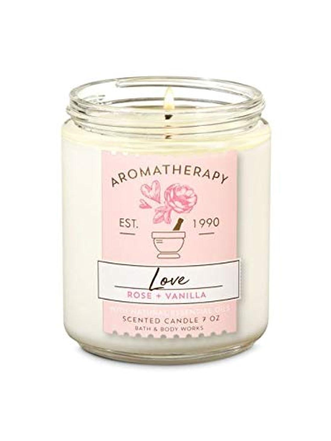 ホイストハンディ脱獄【Bath&Body Works/バス&ボディワークス】 アロマキャンドル アロマセラピー ラブ ローズバニラ Aromatherapy 1-Wick Scented Candle LOVE Rose Vanilla 7oz/198g [並行輸入品]