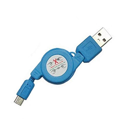OMMO LEBEINDR Retráctil de sincronización de Datos por Cable telescópico Cargador Micro Cable Compatible con Samsung Galaxy y Dispositivos Android Azul Más