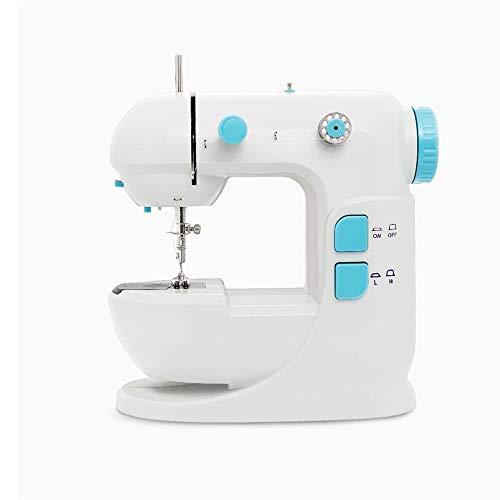 Feixunfan Máquina de Coser Escritorio máquina de Coser for Uso doméstico Mini Electric Máquina de Coser para Cortinas de Ropa (Color : White, Size : 22X22X12CM)