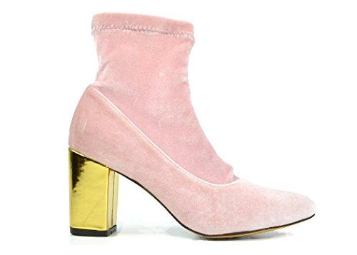 Chase & Chloe Milly-1 Damen Stiefelette mit spitzem Zehenbereich, goldener Absatz, Samt, Pink (Rosa Samt), 39 EU