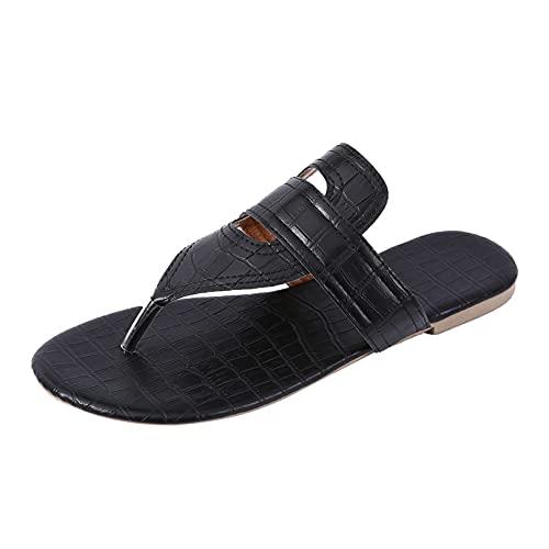 KYZRUIER Sandalias Mujer Zapatos Roma Sandalias de Vestir Plana Verano Chanclas Antideslizante Goma Suela (Black, 40)