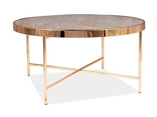 LUENRA - Mesa baja, mesa de salón, mesa de café, cristal templado, 82 × 82 × 40 cm, rectangular (Tempered Glass) efecto mármol, estructura de metal, marco dorado, estilo moderno, Art Deco