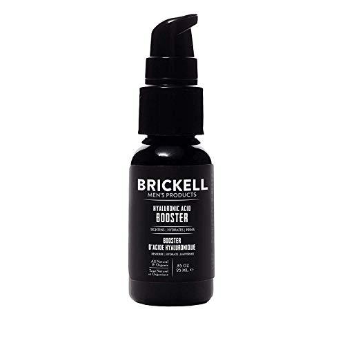 Brickell Men's Sérum Booster d'acide hyaluronique pour homme, Booster d'acide hyaluronique naturel et biologique pour le visage pour hydrater et nourrir la peau, réduire les ridules et les rides (25 mL)