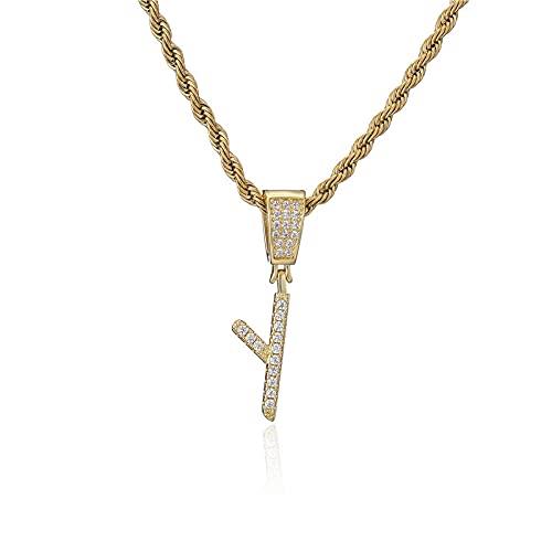 TTbaoz Moda Color Dorado Cadena de Cuerda Collares en mayúscula AZ Collar con Iniciales Joyería de Hip Hop Regalo de cumpleaños-Y_45cm
