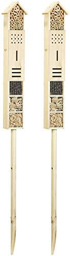 Royal Gardineer Nistkasten: 2er-Set Insektenhotels Flip mit Erdspieß, 160 cm (Luxus-Insektenhotel)