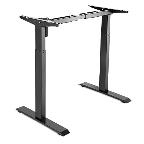 PrimeCables Electric Adjustable Height Standing/Sit-Stand 2-Stage Telescopic Single-Motor Desk Frame (Table Top Not Include) (Black)