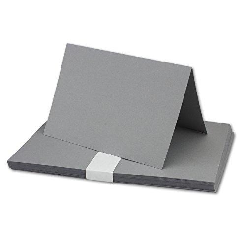25x Falt-Karten DIN A6 in Dunkelgrau - Blanko - Doppel-Karten - 220 g/m²