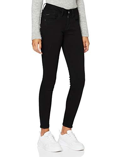 G-STAR RAW Damen Lynn Mid Waist Skinny Jeans, Pitch Black B964-A810, 31W / 32L
